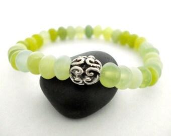 Aventurine Meditation Bracelet, Green Aventurine, Silver Beaded Bracelet