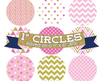 """Digital Collage Sheet 1"""" Digital Bottlecap Images Pink and Gold Patterns Personal & Commercial Use One Inch Circles"""