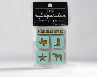 Gift for cowboys. Gift for cowgirls. Refrigerator Magnet. Fridge Magnets. Kitchen Magnets. Lone Star State. Texas