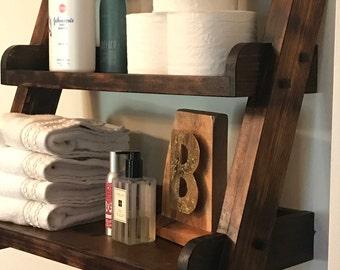 Hanging Ladder Shelf For Kitchen, Bathroom Or Dorm Room