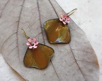Enamel Leaf Earrings Brown and Pink Floral Jewelry