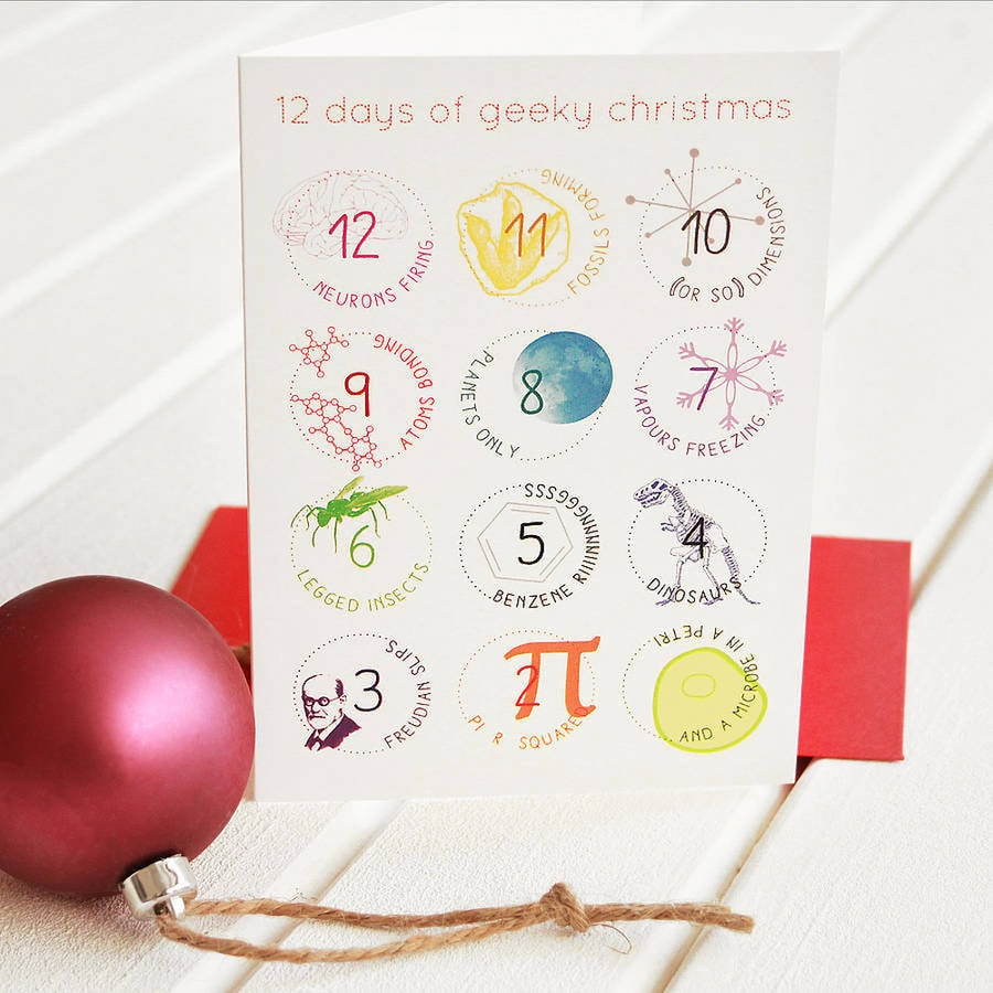12 days geek christmas cards set funny science twist carol 12 days geek christmas cards set funny science twist carol song unique scientific festive greetings holiday card packs red envelope big bang kristyandbryce Images