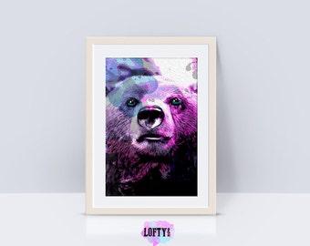 Bear Print Nursery Animal Wall Art, Kids Printable Art, Printable Art, Black and White Nursery Decor, Bear Wall Art Print Nursery Printable