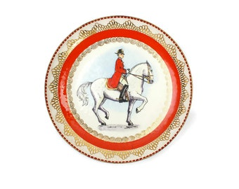 Enamelware Bowl, Steinböck Enamel, Courbette Rider on Lippizan Horse, Enamel Art Bowl, Made in Vienna, Austria, c1950s, Vintage Home Decor