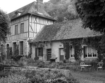 french country house Giverny France black and white photograph