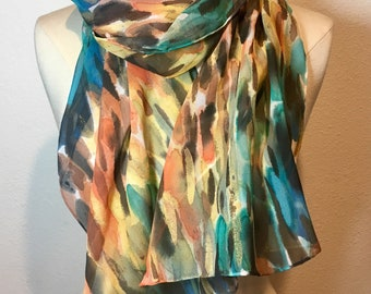 Abstract Flurry, sunrise colored hand painted silk georgette scarf. Multicolor brush strokes with gold accents oblong scarf