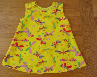 Yellow Butterfly Girl's Dress. 1 to 2 yrs