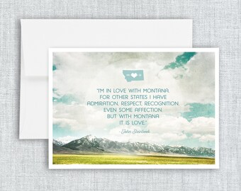 In Love with Montana - greeting card, blank greeting card, montana quote, steinbeck montana quote, landscape, nature, mountains, clouds, sky