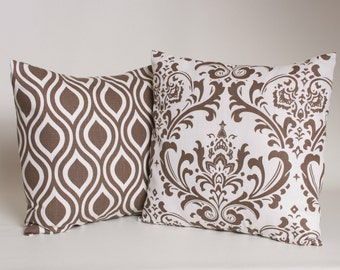 "Set of 2 Italian Brown Pillow Covers in Premier Print Traditions and Nicole Pattern Designed for 18"" Standard Inserts"