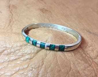 Sterling & Malachite Bangle Bracelet