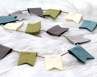 Notched Bunting Flag Felt Garland. Green Gray Blue Nursery. Nursery Wall Hanging Decor.