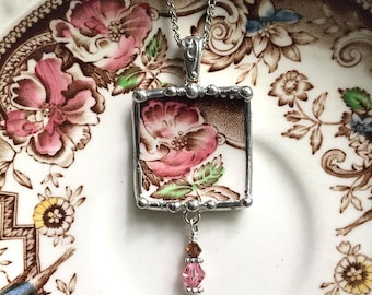 Broken china jewelry - broken china necklace pendant - antique aesthetic brown transferware pink rose, Dishfunctional Designs