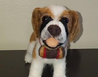 St. Bernard Needle Felted Dog