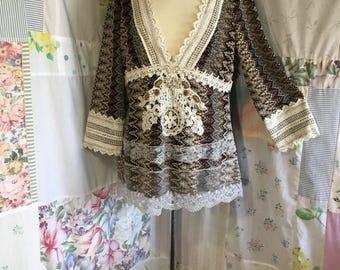 MEDIUM/LARGE, Top Bohemian Hippie Boho  Flowerchild Lace Rhinestone Beaded Low Cut Blouse