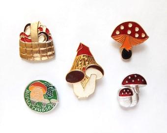 Cartoon vintage enamel pins, metal badges, Vintage Soviet memorabilia 1980s USSR, mushroom gnome