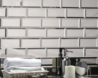 Peel And Stick Silver Mirror Glass Mirror BackSplash  Subway Glass Tile- 3x6 - Peel and Stick Mirror- Home Design 12 square feet per box