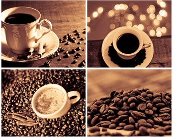 Coffee Photography Set of 4 photo prints Digital Download Coffee wall art kitchen decor