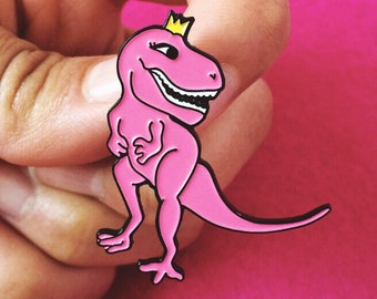 T-Regina Pink Dinosaur Enamel Pin - Dinosaur Pin - Queen Pin - Enamel Pins - Dinosaur Queen - Empowerment Pin - Pingame - Pin game