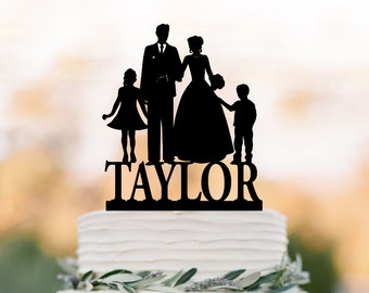 personalized Wedding Cake topper with boy and girl, bride and groom silhouette , funny wedding cake toppers with child