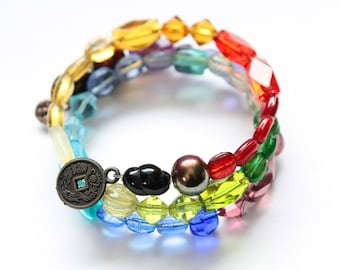 Boho Wrap Bracelet - Rainbow bead bracelet, Chakra Bracelet, Memory Wire Bracelet
