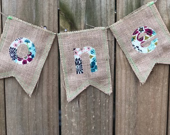 FREE Shipping One Banner First Birthday Banner Burlap Bunting First Birthday Highchair Banner Party Decor Cake Smash Photo Prop BOHO FLORAL