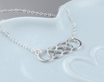 Entwined Double Infinity Necklace, Sterling Silver, To Infinity and beyond, Best Friends Jewelry, Sisters, Mom, Eternal Love