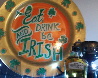 Irish plate. Ireland. Irish themed gift. Christmas gift. Unique gift. St Patrick's day. Paddies day. Green and gold.