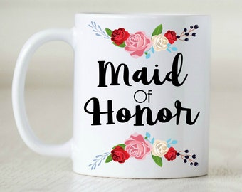 Maid of Honor, Bridesmaid, Bridal Party Favors, Wedding Party Favors, Wedding, Floral Mugs, Floral Cups