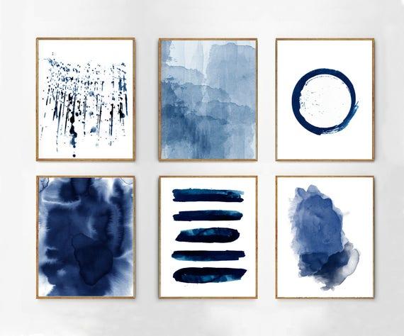 Abstract watercolor prints set of 6 blue wall art minimalist