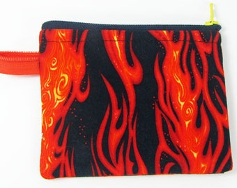 Flames, credit card case, change purse, business card holder, coin wallet, womens change purse, credit card wallet, minimalist wallet