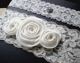 Bridal Garter Set ...Wide Ivory Lace and Satin Rolled Millinery Rose Flowers. Chic Design.
