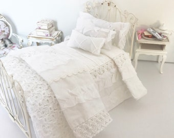White Shabby Cottage Chic Dollhouse Bedding Set- 1:12 Scale Single Bed
