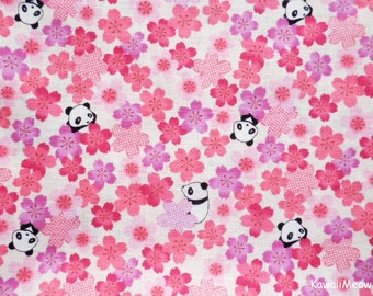Kimono Japanese Fabric - Sakura Pandas on Pink - Fat Quarter - (u170618)