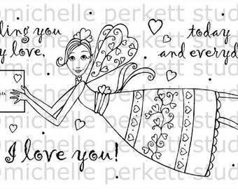 Digital Stamp Image Valentines Day Hearts Letter Fairy Love Wings  Cardmaking Scrapbooking
