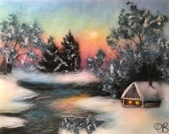 Winter landscape, Winter art, Landscape wall art, Wool painting, Winter decor, Wool wall hanging, Wall art decor, Felt art, Felted picture