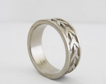 Men's 7mm Wedding Band   Heavy White Gold Wedding Ring   14K Recycled White Gold Ring  Eco friendly Wedding Ring