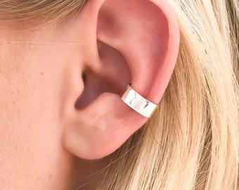 Hammered Ear Cuff,  Sterling Silver Ear Cuff, No Pierce Earrings, Cartilage Earrings, Non Pierce Ear Cuff, Silver Ear Wrap
