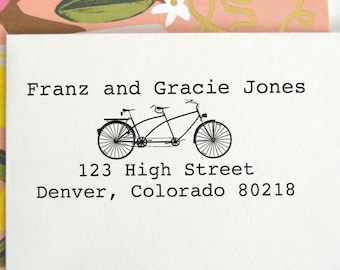 Address Stamp with bicycle | Self Inking Return Address Stamp | Custom Rubber Stamp | Custom Address Stamp | Gift for bicycle lover, No. 50