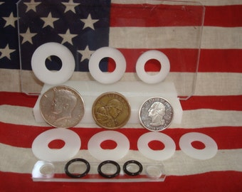 U.S. LARGE COIN Centering punch card fits the fifty cent piece, small dollar, and quarter.