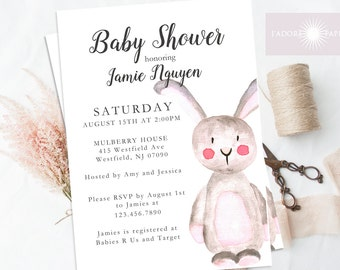 Baby Shower Invite, Bunny Invite, Bunny Baby Shower Invitation, Watercolor Invite, Rabbit Invite, Printable, Gender Neutral, jadorepaperie