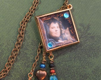 Unique Vintage Sepia Photo Lady With Cat Handmade Resin Pendant Chain Necklace With Charm Dangles - FREE Shipping!  Pretty Gift