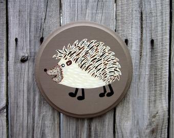 Hedgehog Sign, Painted Wood, Animal Sign, Round Sign, Painted Hedgehog, Kids Room Sign, Hedgehog Wall Art
