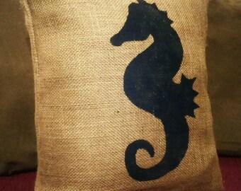 Burlap Seahorse Pillow, Seahorse Pillow, Nautical Pillow, Nautical Decor, Ocean Decor, Beach Pillow, Ocean Pillow, Sea, Seahorse, Ocean