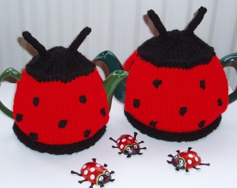 Knitted Tea Cozies - Two PDF knitting patterns by email - Lucky Ladybug and Buzzy Bumblebee