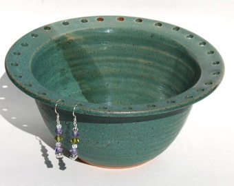 Bridges Pottery Jewelry Bowl - Earring Bowl  two tone green