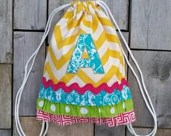 Custom Children's Size Yellow Chevron Drawstring Backpack with Monogram