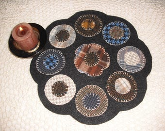 DIY- Wool Flower Penny Rug Kit - Candle Mat-Primitive