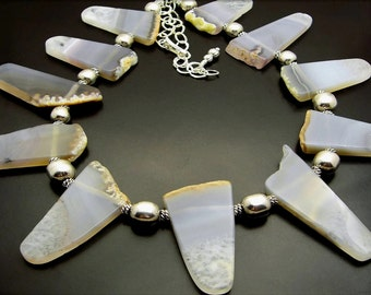 CLOUDS ~ Organic Grey Agate Gemstones, Sterling Silver Necklace