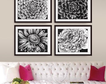 Botanical Flower Head (Series D6 - Horizontal) Set of 4 Art Poster Prints (Featured in Black Pebble) Botanical Flower Sketch Black white