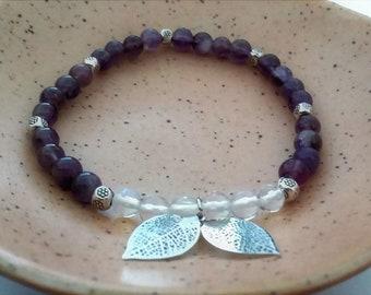 Amethyst and moonstone gemstone bracelet